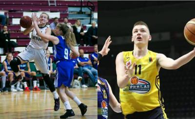 """Moksleivių krepšinio lygos """"Perlas"""" spalio mėnesio žaidėjai – L.Stoškevičius ir A.Garčinskaitė"""