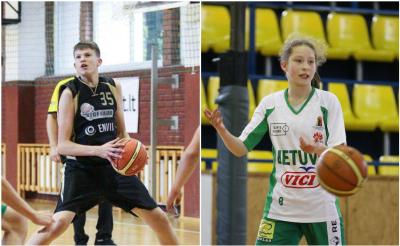 """Moksleivių krepšinio lygos """"Perlas"""" lapkričio mėnesio žaidėjai – P.Murauskas ir J.Miknaitė"""